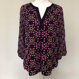 crown & ivy Tops - Crown & Ivy Top Blouse Ladybug Print 3/4 Sleeve